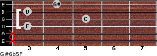 G#6b5/F for guitar on frets x, x, 3, 5, 3, 4
