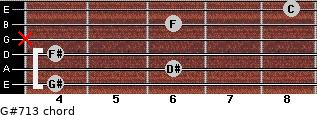 G#7/13 for guitar on frets 4, 6, 4, x, 6, 8