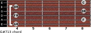 G#7/13 for guitar on frets 4, 8, 4, 8, 4, 8