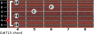 G#7/13 for guitar on frets 4, x, 4, 5, 6, 4