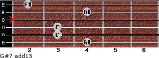 G#7(add13) for guitar on frets 4, 3, 3, x, 4, 2