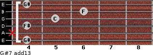 G#7(add13) for guitar on frets 4, x, 4, 5, 6, 4