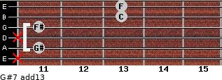 G#7(add13) for guitar on frets x, 11, x, 11, 13, 13