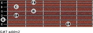 G#7 add(m2) for guitar on frets 4, 0, 1, 2, 1, 2