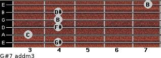 G#7 add(m3) for guitar on frets 4, 3, 4, 4, 4, 7