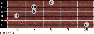 G#7b5/D for guitar on frets 10, x, 6, 7, 7, 8
