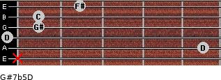 G#7b5/D for guitar on frets x, 5, 0, 1, 1, 2