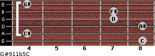 G#9/11b5/C for guitar on frets 8, 4, 8, 7, 7, 4