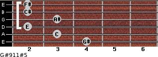 G#9/11#5 for guitar on frets 4, 3, 2, 3, 2, 2