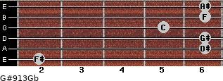 G#9/13/Gb for guitar on frets 2, 6, 6, 5, 6, 6