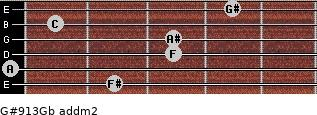 G#9/13/Gb add(m2) guitar chord