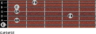 G#9#5/E for guitar on frets 0, 1, 4, 1, 1, 2