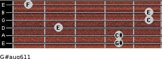 G#aug6/11 for guitar on frets 4, 4, 2, 5, 5, 1