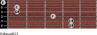 G#aug6/11 for guitar on frets 4, 4, 3, 1, 1, 0