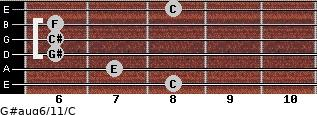 G#aug6/11/C for guitar on frets 8, 7, 6, 6, 6, 8
