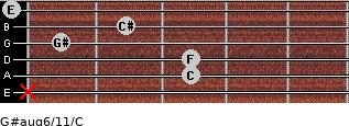 G#aug6/11/C for guitar on frets x, 3, 3, 1, 2, 0