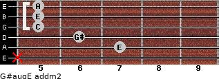 G#aug/E add(m2) for guitar on frets x, 7, 6, 5, 5, 5