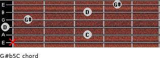 G#(b5)/C for guitar on frets x, 3, 0, 1, 3, 4