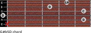 G#(b5)/D for guitar on frets x, 5, 0, 5, 3, 4