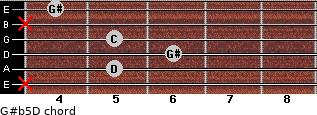G#(b5)/D for guitar on frets x, 5, 6, 5, x, 4