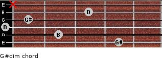 G#dim for guitar on frets 4, 2, 0, 1, 3, x