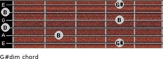 G#dim for guitar on frets 4, 2, 0, 4, 0, 4