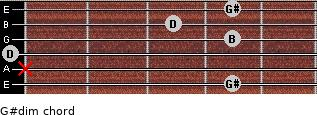 G#dim for guitar on frets 4, x, 0, 4, 3, 4