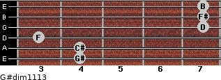 G#dim11/13 for guitar on frets 4, 4, 3, 7, 7, 7