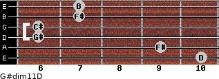 G#dim11/D for guitar on frets 10, 9, 6, 6, 7, 7