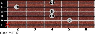 G#dim11/D for guitar on frets x, 5, 4, 4, 2, 4