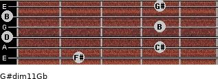 G#dim11/Gb for guitar on frets 2, 4, 0, 4, 0, 4