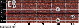 G#dim13/D for guitar on frets 10, 11, x, 10, 7, 7