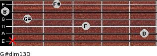 G#dim13/D for guitar on frets x, 5, 3, 1, 0, 2