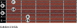 G#dim13/Gb for guitar on frets 2, 2, 0, 1, 0, 1