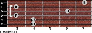 G#dim6/11 for guitar on frets 4, 4, 3, 6, 3, 7