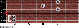 G#dim6/11 for guitar on frets 4, 4, x, 7, 6, 7