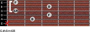 G#dim6/B for guitar on frets x, 2, 3, 1, 3, 1