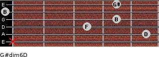 G#dim6/D for guitar on frets x, 5, 3, 4, 0, 4