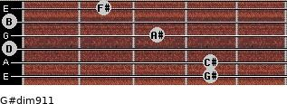 G#dim9/11 for guitar on frets 4, 4, 0, 3, 0, 2