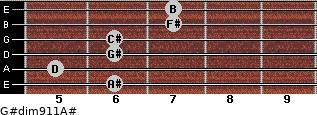 G#dim9/11/A# for guitar on frets 6, 5, 6, 6, 7, 7