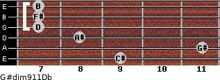 G#dim9/11/Db for guitar on frets 9, 11, 8, 7, 7, 7