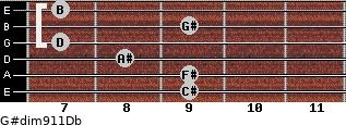 G#dim9/11/Db for guitar on frets 9, 9, 8, 7, 9, 7