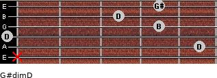 G#dim/D for guitar on frets x, 5, 0, 4, 3, 4