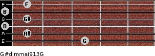 G#dim(maj9/13)/G for guitar on frets 3, 1, 0, 1, 0, 1