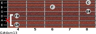 G#dom13 for guitar on frets 4, x, 4, 8, 6, 8