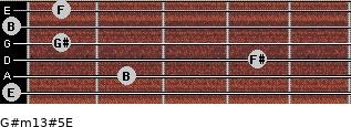 G#m13#5/E for guitar on frets 0, 2, 4, 1, 0, 1