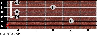 G#m13#5/E for guitar on frets x, 7, 4, 4, 6, 4