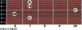 G#m13#5/E for guitar on frets x, 7, 6, 10, 7, 7