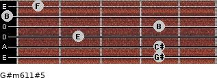 G#m6/11#5 for guitar on frets 4, 4, 2, 4, 0, 1