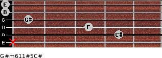 G#m6/11#5/C# for guitar on frets x, 4, 3, 1, 0, 0